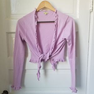 Lilac cropped sweater wrap with long sleeves